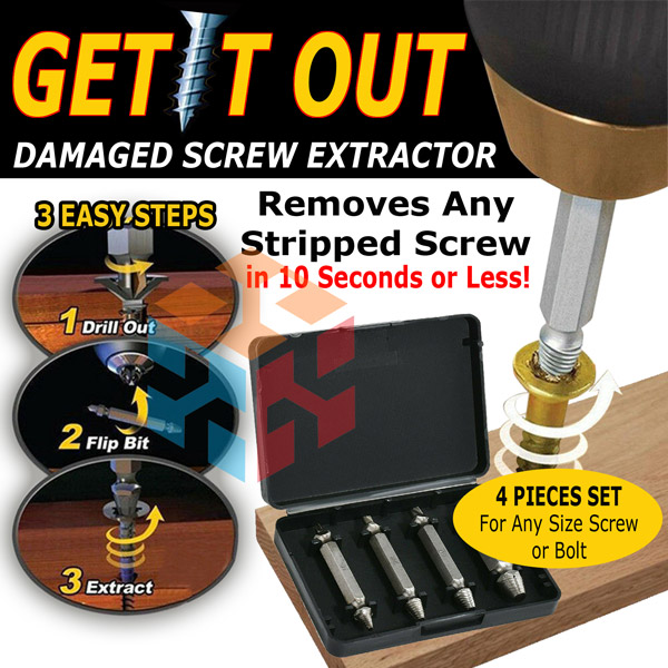 4x Damaged Bolt Screw Stud Extractor Remover Easy Out Broken Bolt Extractor