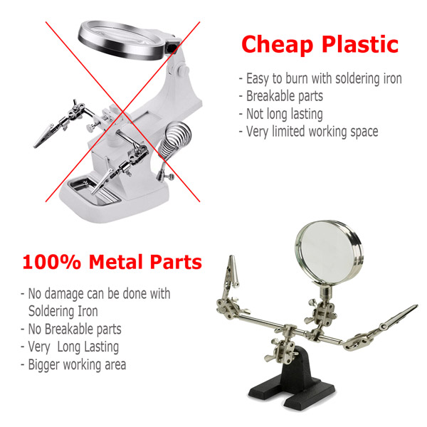 2pcs Third Hand Soldering Solder Iron Stand Holder Magnifier Helping Station