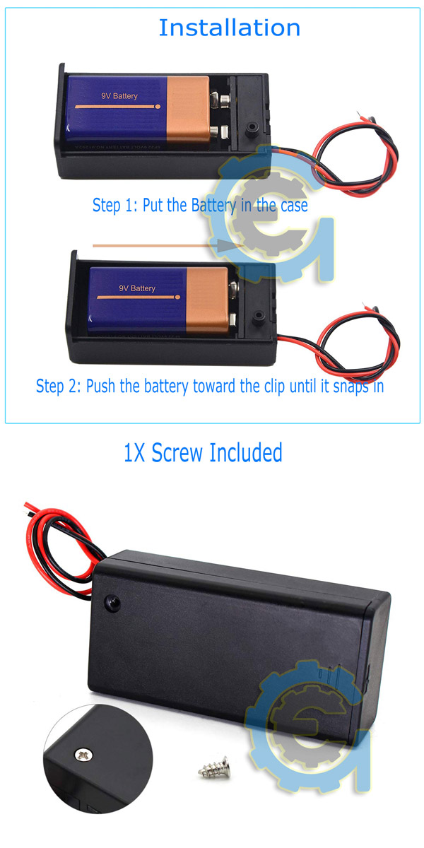 9V Volt PP3 battery holder box dc case w// wire lead on//off switch cov SU