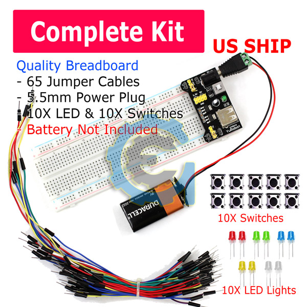 65pcs Jump Cable Wires Power Supply Frentaly Small 400 Tie Point Prototype PCB Breadboard