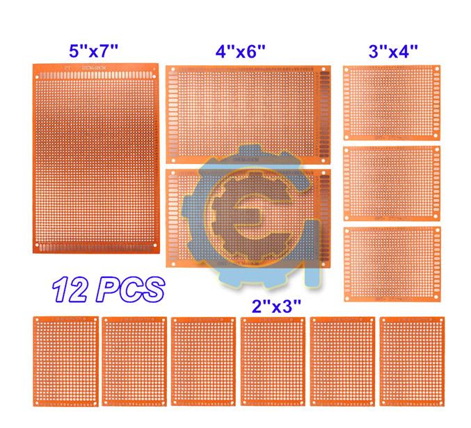 12x DIY Prototyping Board PCB Printed Circuit Prototype Breadboard Stripboard