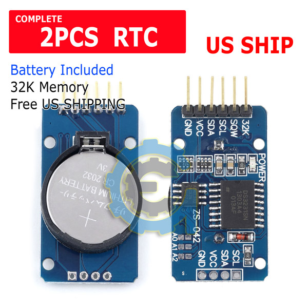 2x DS3231 AT24C32 IIC Precision Real Time Clock Memory Module Board For Arduino