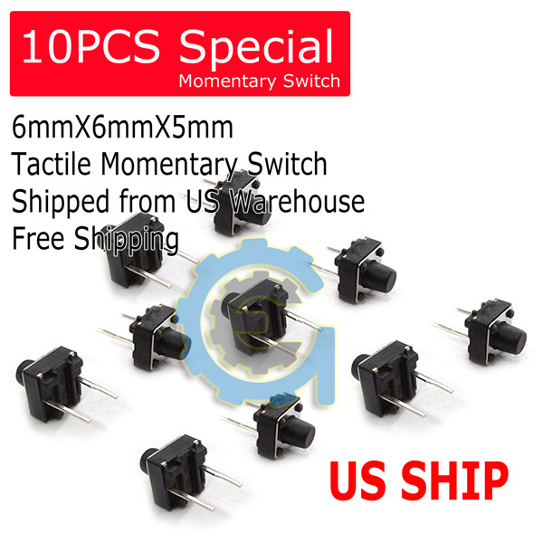 6x6x5mm 2Pin DIP Push Button Momentary Tactile Switch 10pcs Breadboard Friendly