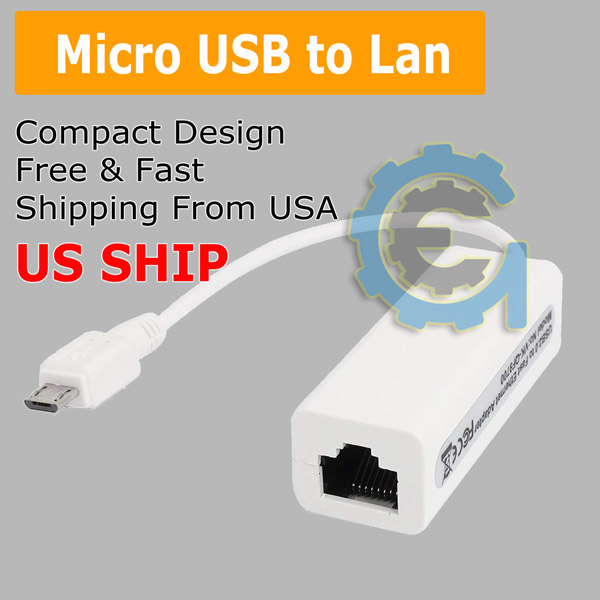 Micro USB 2.0 to Ethernet RJ45 Network Lan Adapter For Windows 10 8.1 8 Tablet