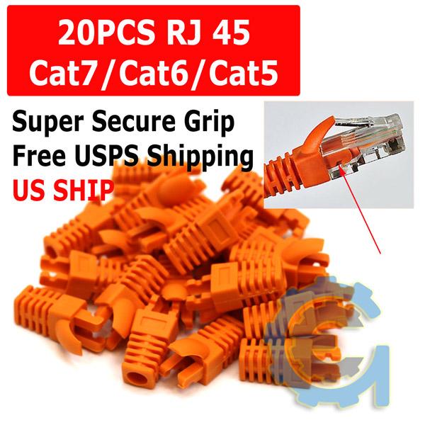 20pcs RJ45 Connector Modular End Cap Boot Head Plug Protect CAT6 Cable CAT5E