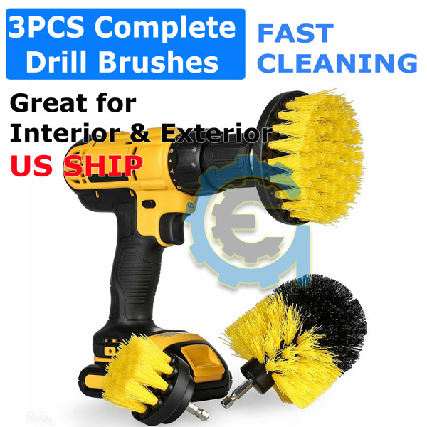 Drill Brushes Set 3pcs Tile Grout Power Scrubber Cleaner Spin Tub Shower Wall US