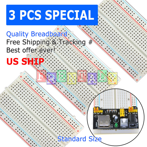 3pcs 400-Point Solderless Prototype Breadboard ABS Circuit PCB Board Kit for DIY