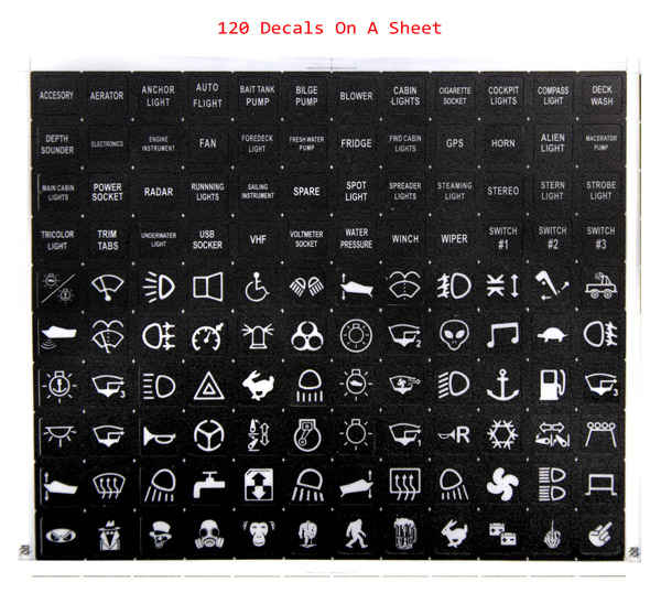 Labeled Instrument Panel For Trucks : Rocker switch label decal circuit panel sticker car marine