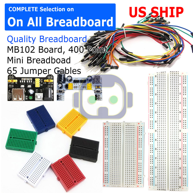 Power Supply 65pcs Jump Cable Wires Frentaly Small 400 Tie Point Prototype PCB Breadboard