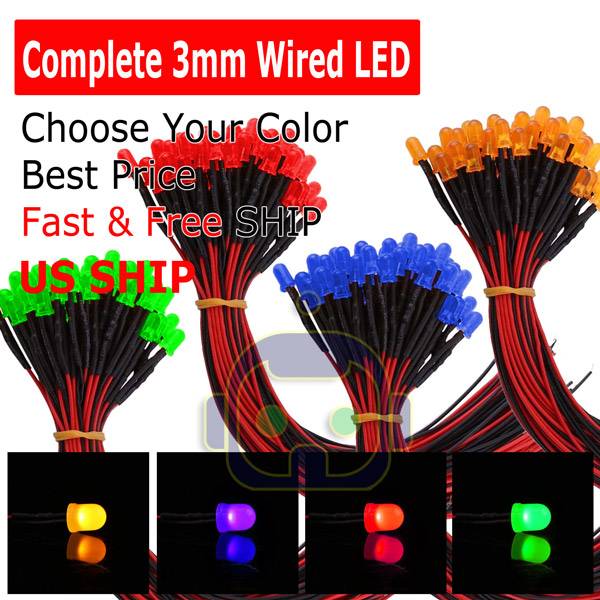 Light SET Lot 10 PCS x Warm White LED 9-12 V Volts DC Pre Wired 3mm