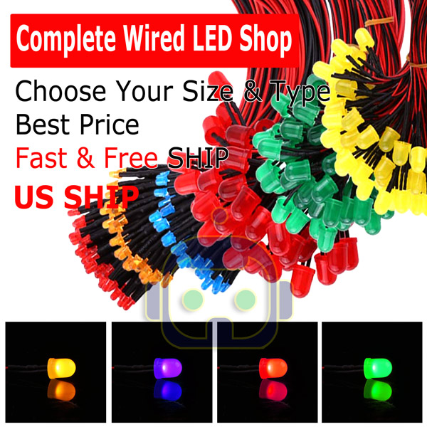 1.8mm 2mm 3mm 5mm 8mm 10mm Pre Wired LED DC9-12V Diffused Lights Emitting Diodes
