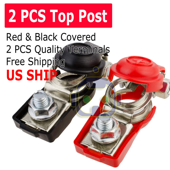 2pcs Top-Post Negative Positive Battery Cable Terminal Clamp Red/&Black Cover