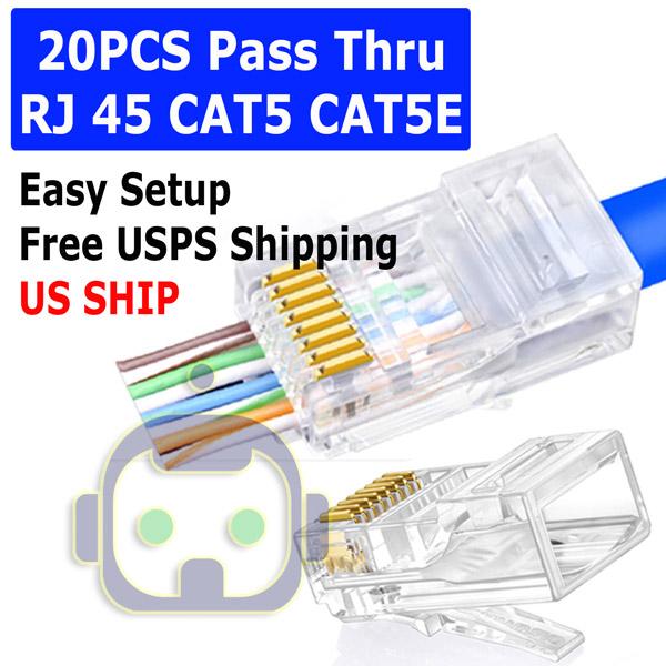 20PCS RJ45 CAT5 Modular RJ45 Plug Network RJ45 Connector Keystone Jack For Cat5